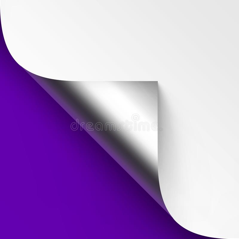 Vector Curled Metalic Silver corner of White paper with shadow Mock up Close up Isolated on Blue Violet Background. Vector Curled Metalic Silver corner of White royalty free illustration