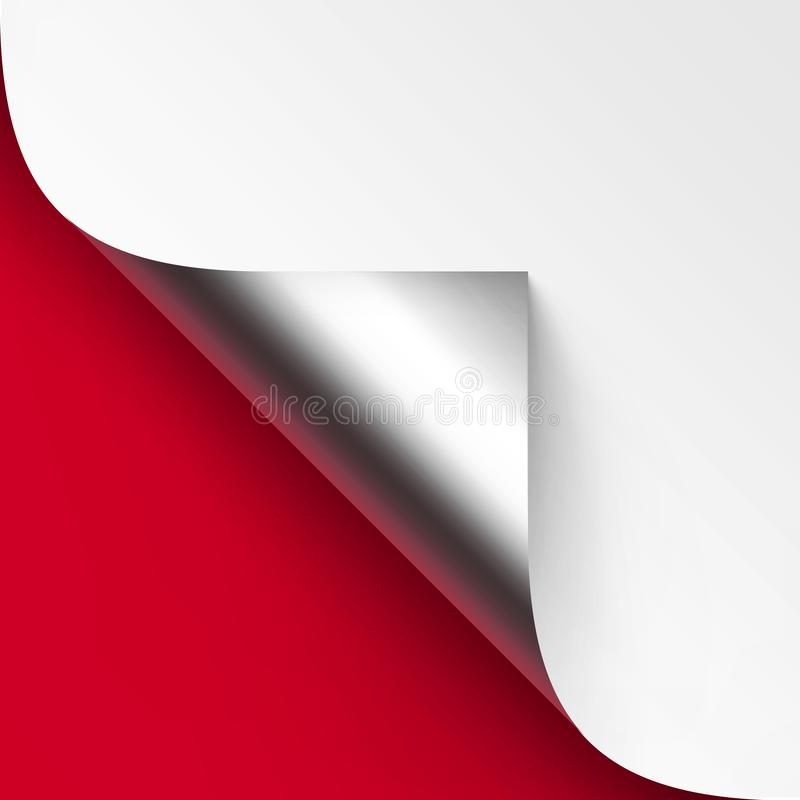 Vector Curled Metalic Silver corner of White paper with shadow Mock up Close up Isolated on Red Background. Vector Curled Metalic Silver corner of White paper vector illustration
