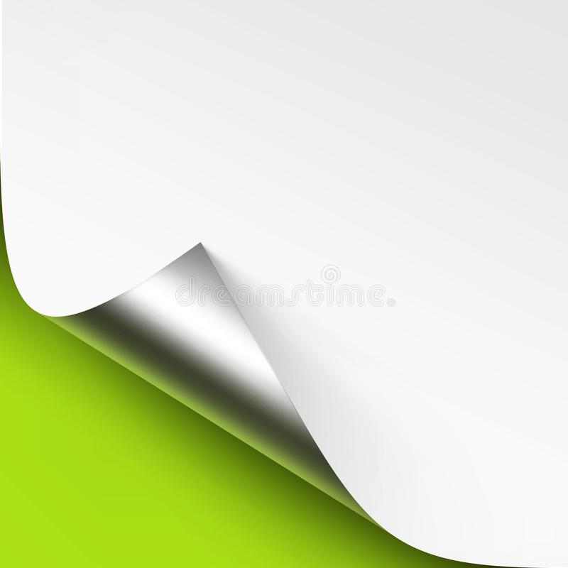 Vector Curled Metalic Silver corner of White paper with shadow Mock up Close up on Green Lime Background. Vector Curled Metalic Silver corner of White paper with vector illustration