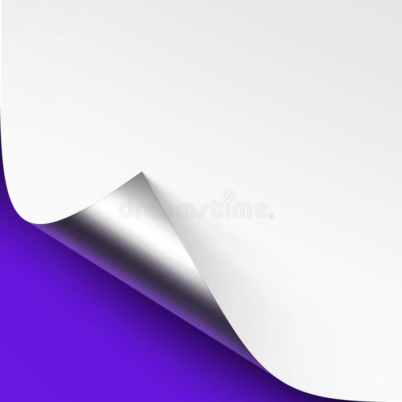 Vector Curled Metalic Silver corner of White paper with shadow Mock up Close up on Blue Violet Background. Vector Curled Metalic Silver corner of White paper vector illustration