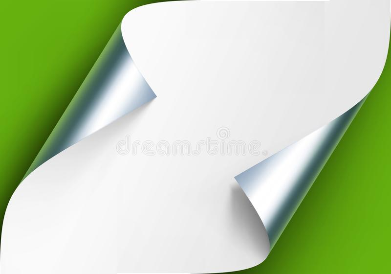 Vector Curled Metalic Silver Corners of White Paper with Shadow Mock up Close up Isolated on Light Green Background. Vector Curled Metalic Silver Corners of stock illustration