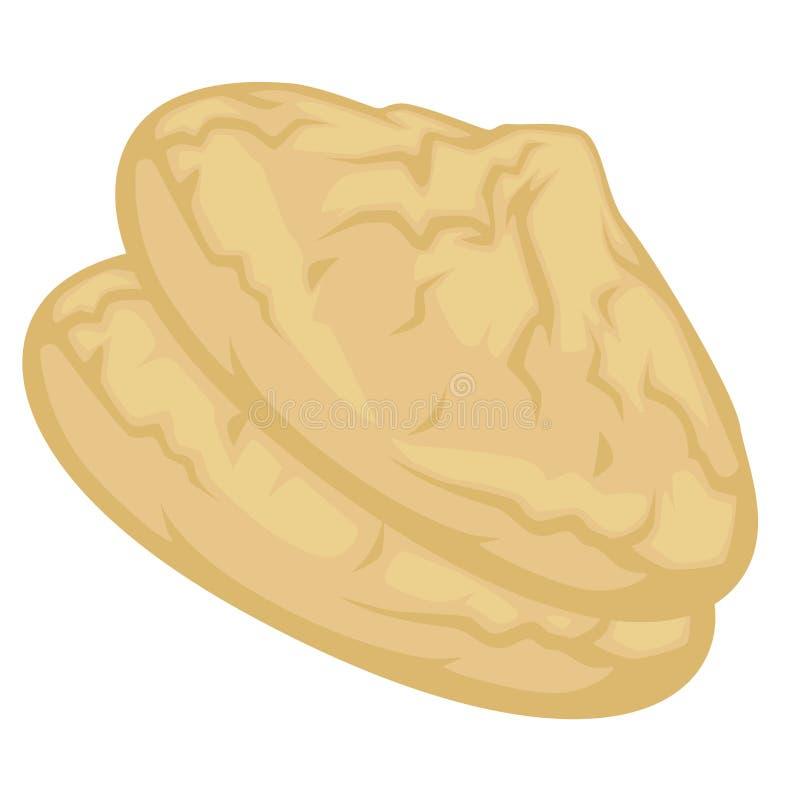 Vector curruscante del postre de los dulces del primer del bocado de la galleta del coco ilustración del vector