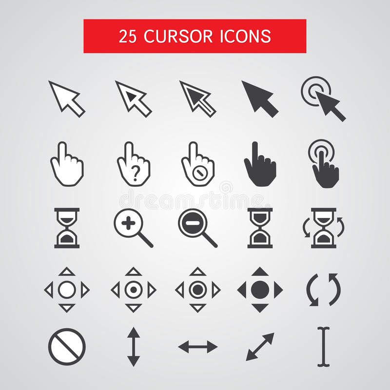 Vector Cursor Icons Set royalty free illustration
