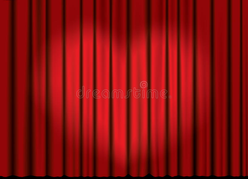 Vector curtain with heart spotlight. Curtain from the theatre with a spotlight in heart form vector illustration
