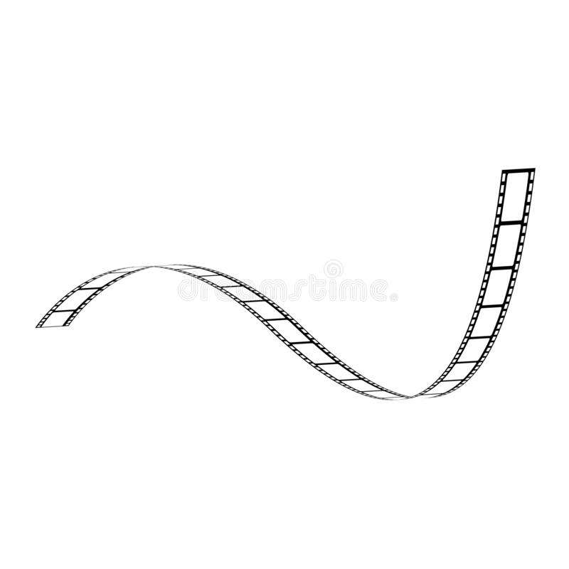 Vector curved film strip movie tape black white. Vector curved film strip. Movie production tape, vintage cinematography symbol. Retro photography equipment royalty free illustration