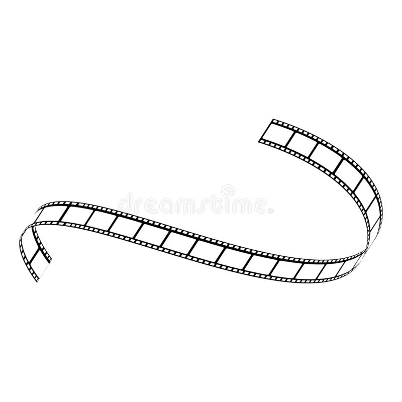 Vector curved film strip movie tape black white. Vector curved film strip. Movie production tape, vintage cinematography symbol. Retro photography equipment stock illustration
