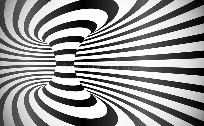 Vector curved stripes optical illusion abstract background vector illustration