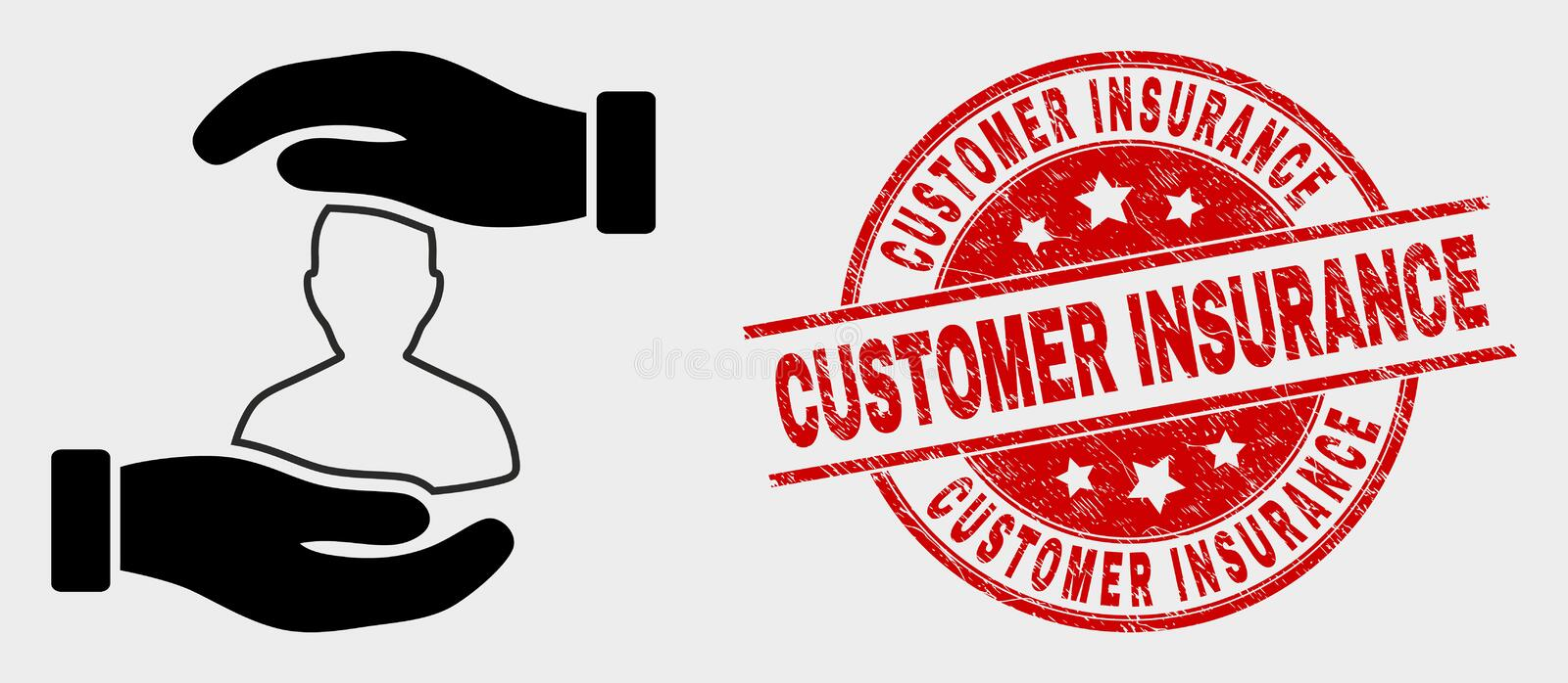 Vector Customer Care Hands Icon and Scratched Customer Insurance Stamp Seal. Vector customer care hands icon and Customer Insurance seal stamp. Red round grunge vector illustration