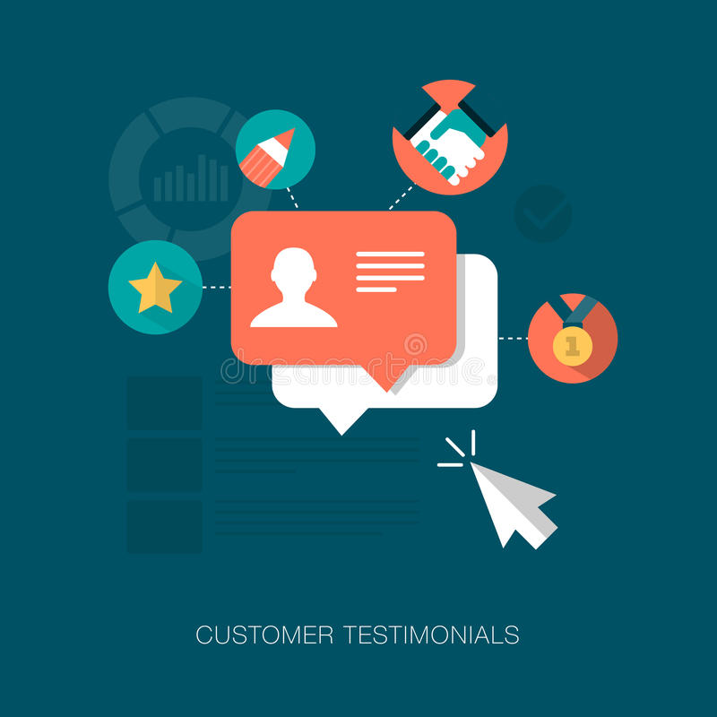Vector customer testimonials concept illustration. For various uses royalty free illustration