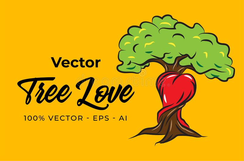 Vector Tree Love Illustration Design stock photography