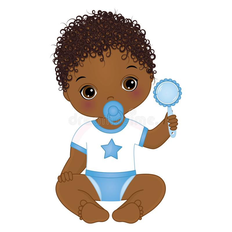 Vector Cute African American Baby Boy with Rattle. Vector Baby Boy Shower royalty free illustration