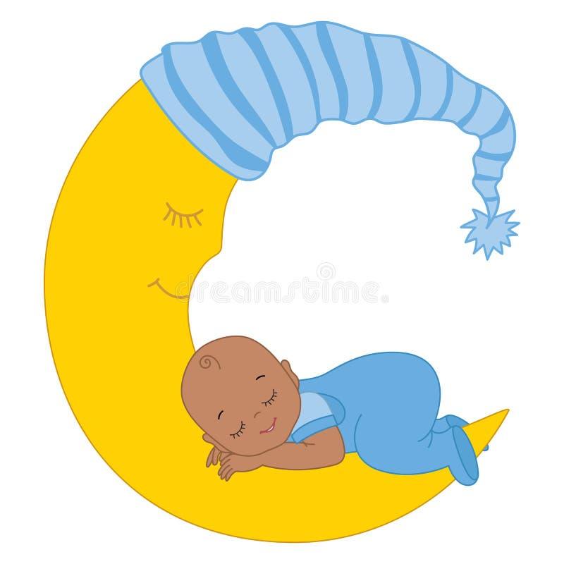 Vector Cute African American Baby Boy Sleeping on the Moon vector illustration