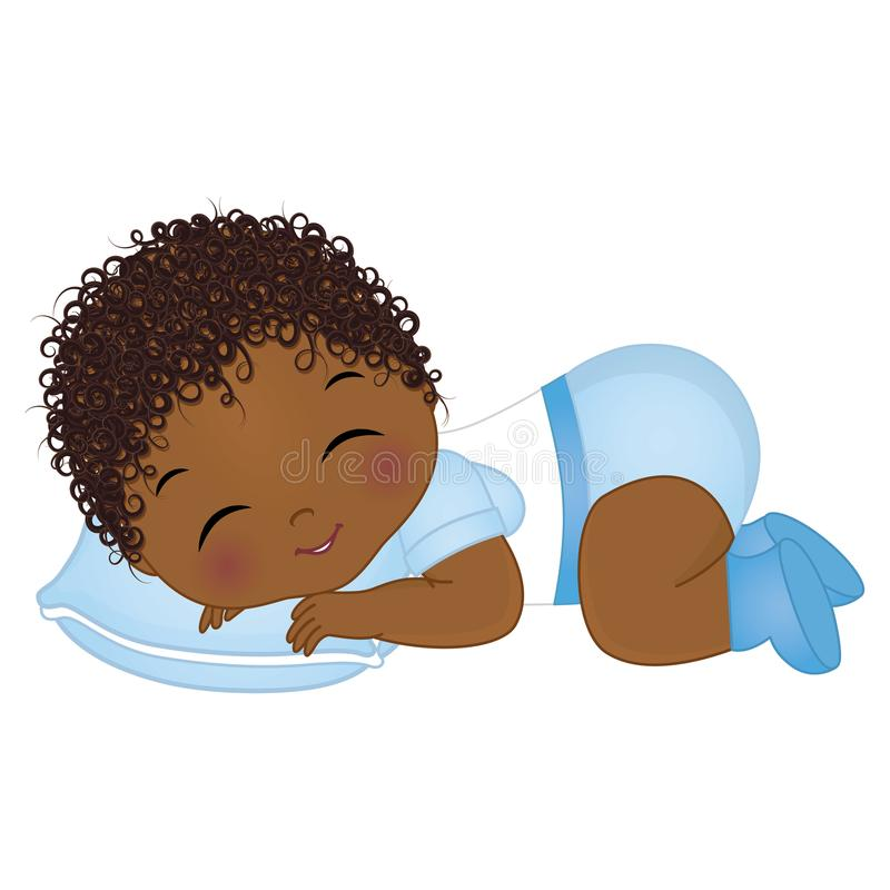 Vector Cute African American Baby Boy Sleeping. Vector Baby Boy Shower stock illustration