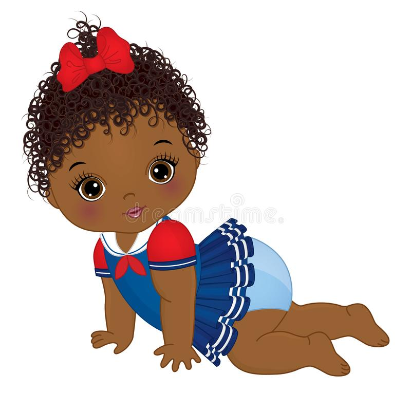 Vector Cute African American Baby Girl Dressed in Nautical Style. Vector cute little African American baby girl dressed in nautical style. Vector baby girl vector illustration