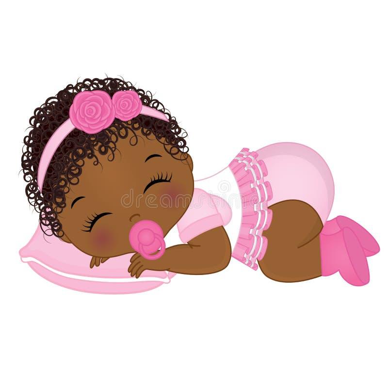 Newborn Black Baby Girl Clipart