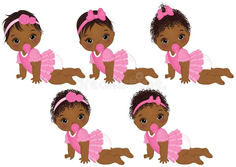 Download Vector Cute African American Baby Girls With Various ...