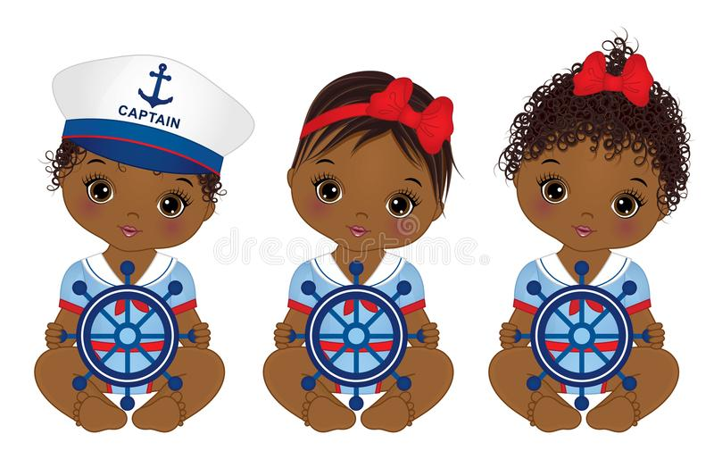 Vector Cute African American Baby Girls Dressed in Nautical Style. Vector cute little African American baby girls dressed in nautical style. Vector baby girls vector illustration