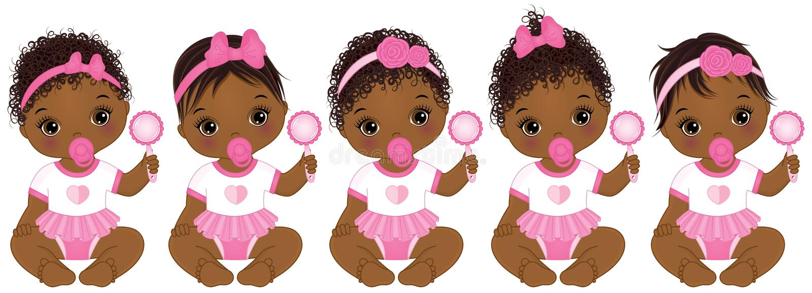 Vector Cute African American Baby Girls With Various