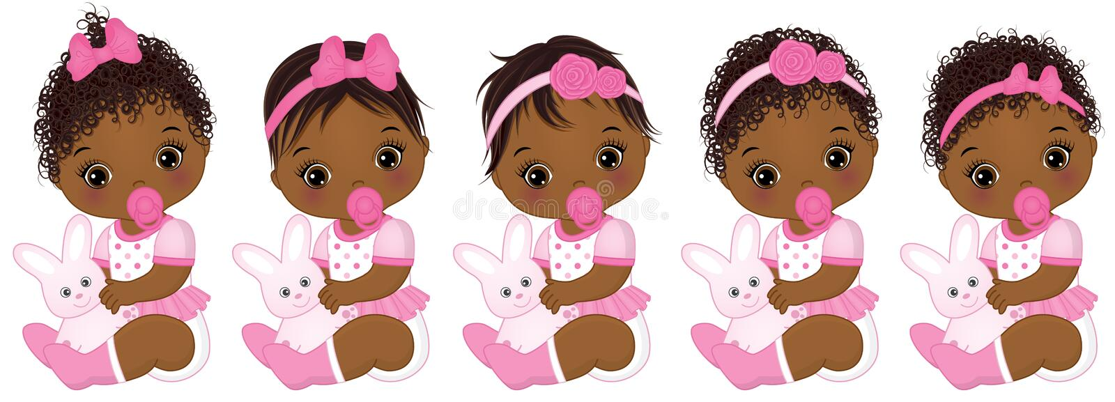 Vector Cute African American Baby Girls with Various Hairstyles vector illustration