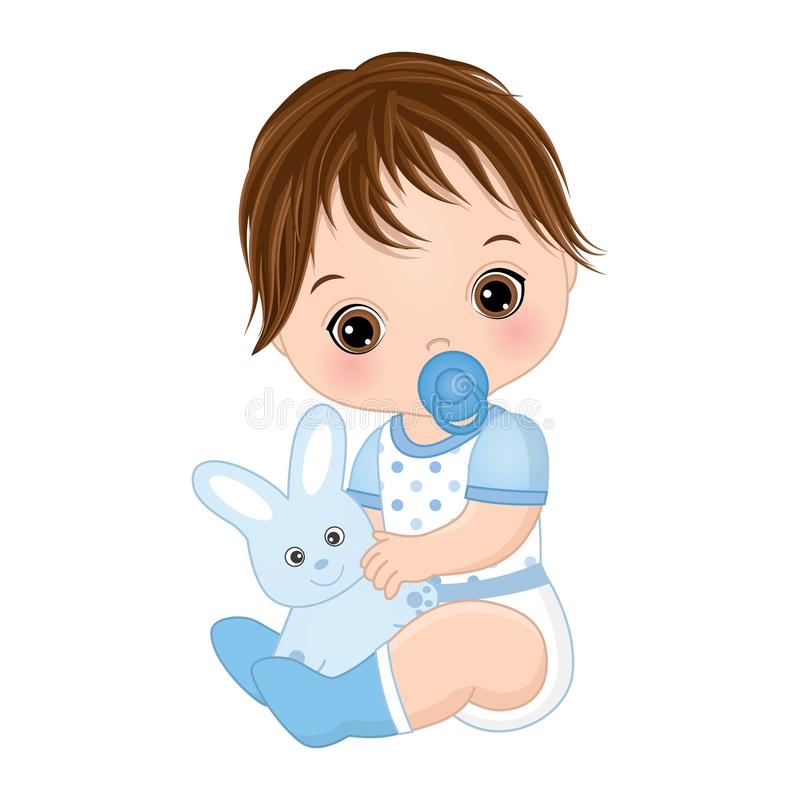 Vector Cute Baby Boy with Toy Bunny. Vector Baby Boy Shower stock illustration