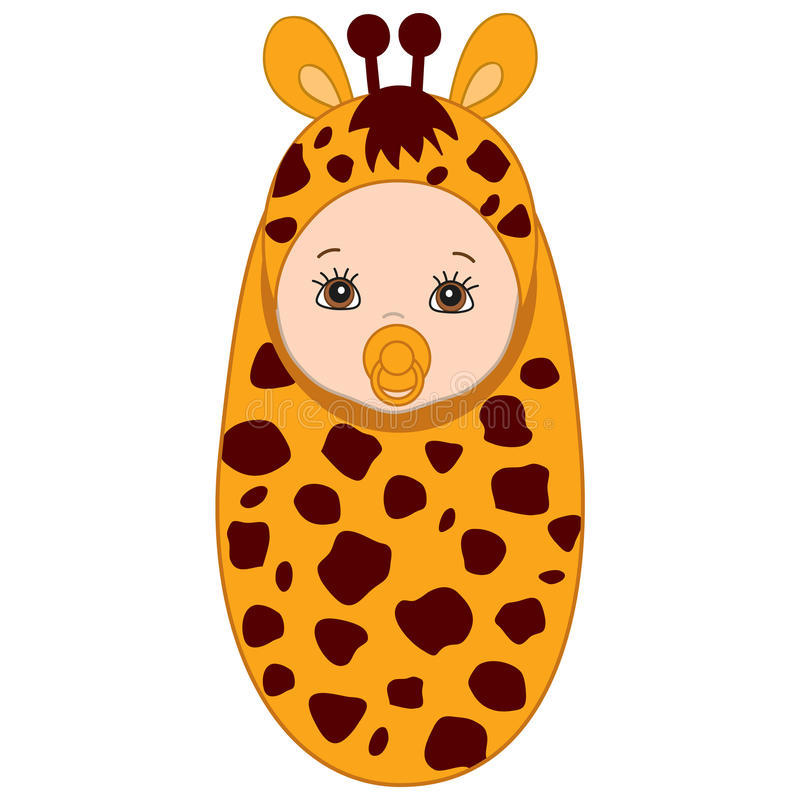 Vector Cute Baby in Giraffe Costume. Vector cute baby wrapped in blanket with giraffe pattern. Baby in giraffe outfit. Vector baby boy. Vector baby girl royalty free illustration