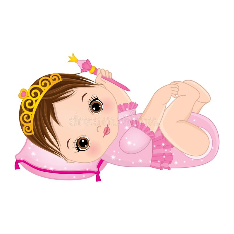 Vector Cute Baby Girl Dressed as Princess stock illustration