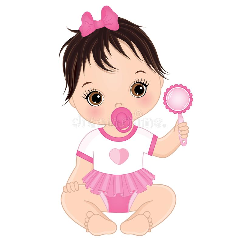 Free Vector Cute Baby Girl With Rattle Royalty Free Stock Image - 103031736
