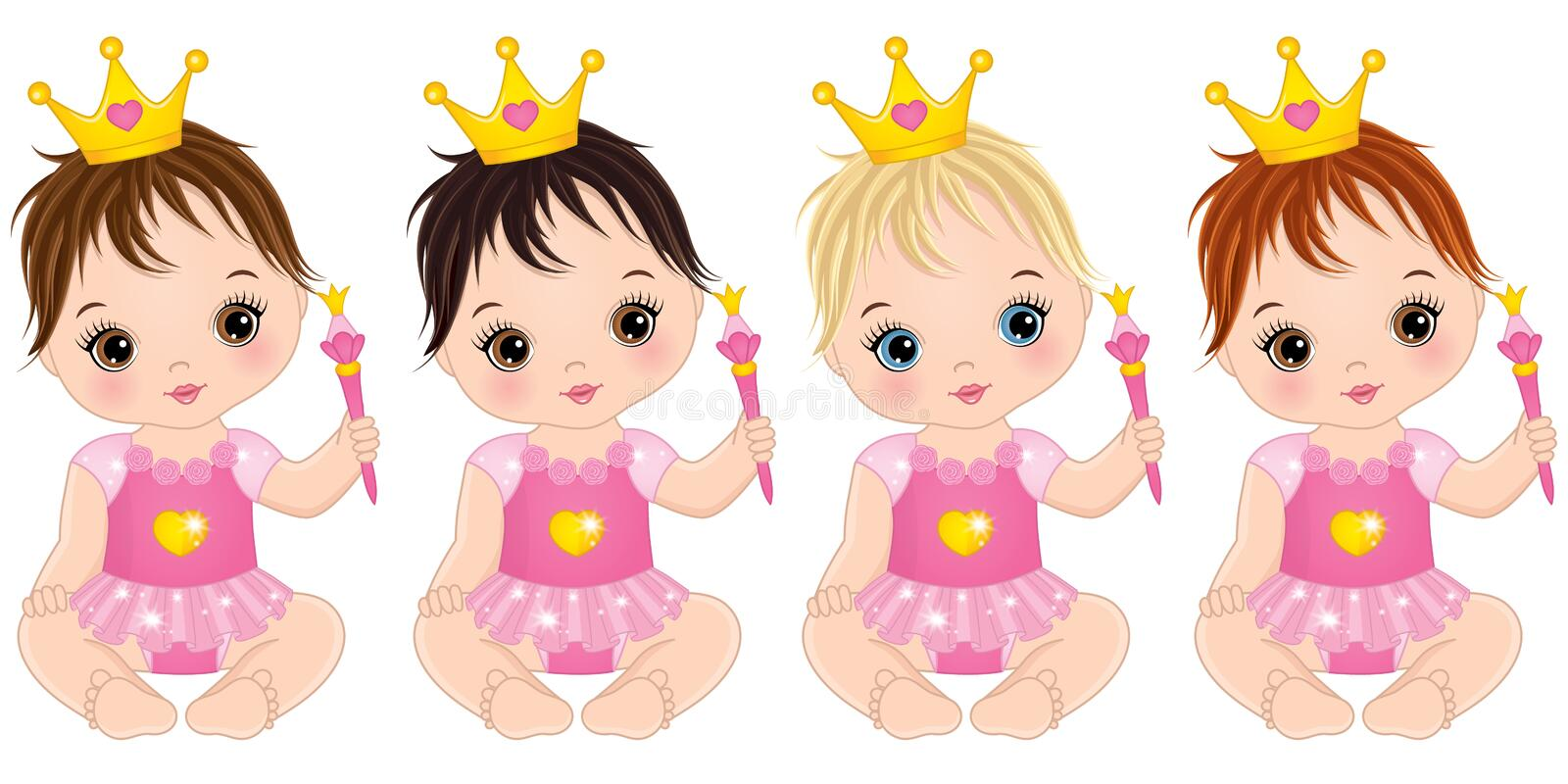 Vector Cute Baby Girls Dressed as Princesses with Magic Wands. Vector cute little baby girls dressed as princesses. Vector baby girl. Vector baby girls with with stock illustration