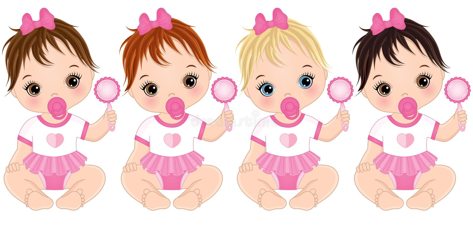 Vector Cute Baby Girls with Rattles and Various Hair Colors vector illustration