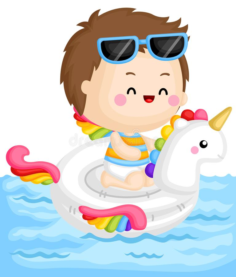 A Vector of Cute Boy Sitting on top of Unicorn Float at the Pool. A Vector of Cute Little Boy Sitting on top of Unicorn Float at the Pool royalty free illustration