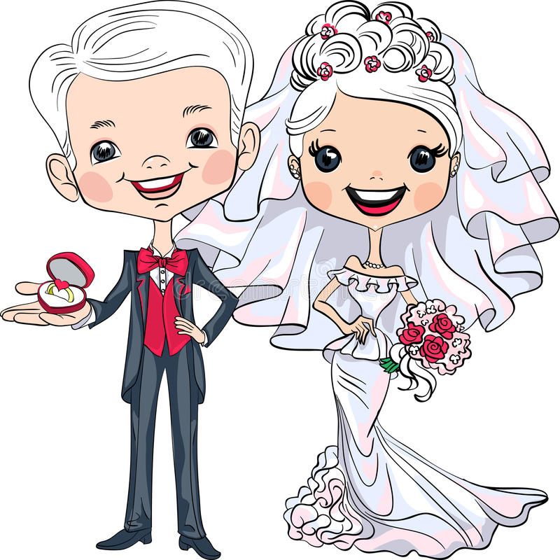 Vector Cute bride and groom stock illustration