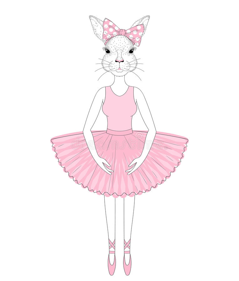 818f3a9152268 Vector cute bunny girl in dress like ballerina. Hand drawn anthropomorphic  rabbit, illustration for