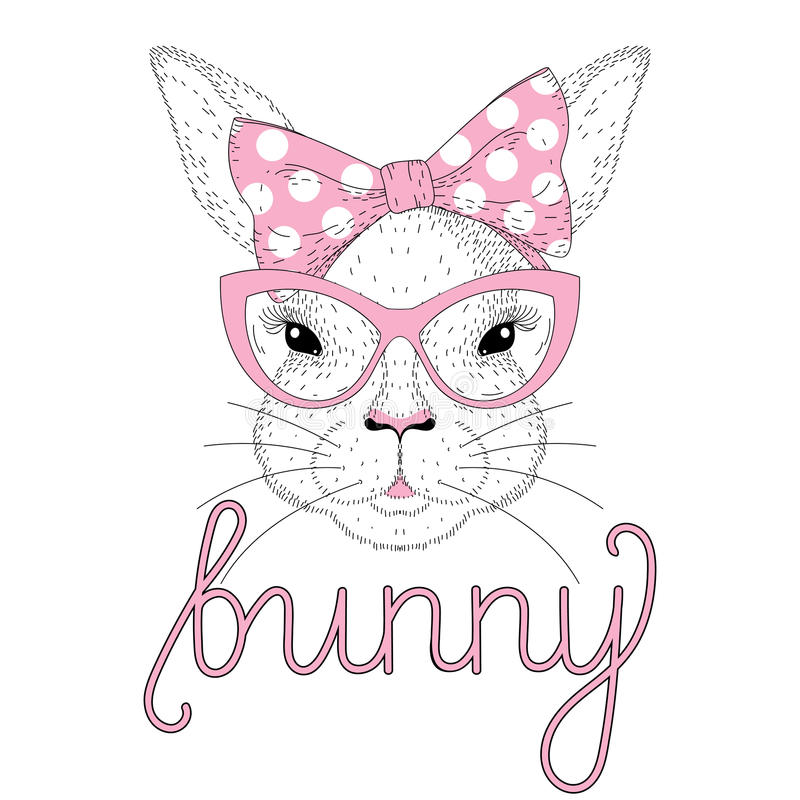 Vector cute bunny girl portrait with pink pin up bow tie on head royalty free illustration