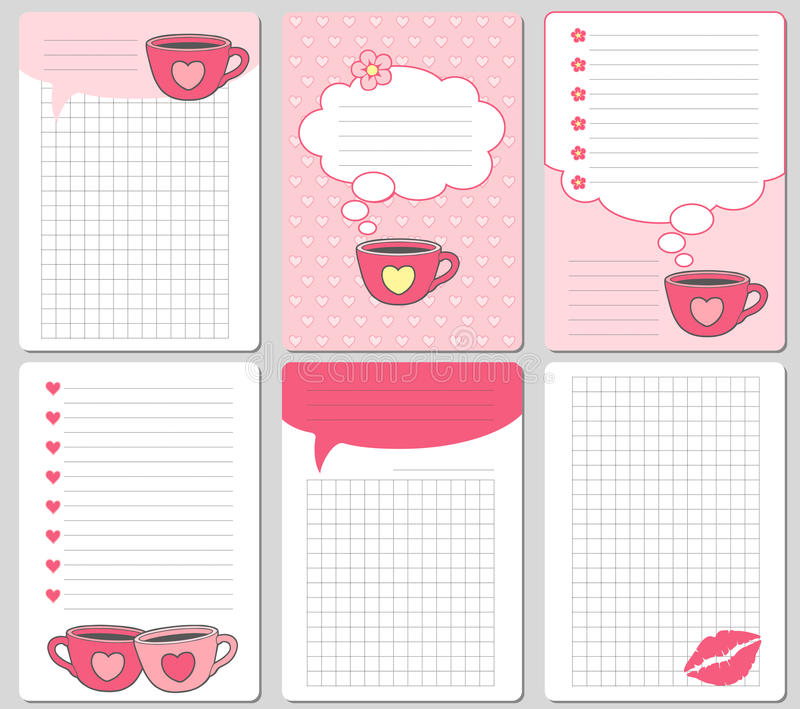 Vector cute cards. Notes, stickers, labels, tags with funny cups and hearts. Design for craft paper, scrapbook, template and greet. Notes, stickers, labels, tags vector illustration