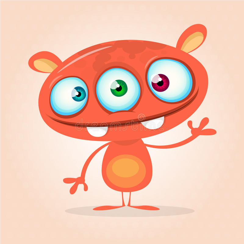 Vector cute caroon monster alien. Halloween monster character with three eyes royalty free illustration