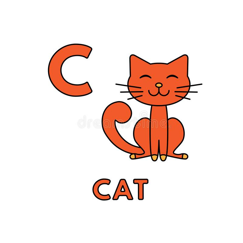 Vector Cute Cartoon Animals Alphabet. Cat Illustration royalty free illustration
