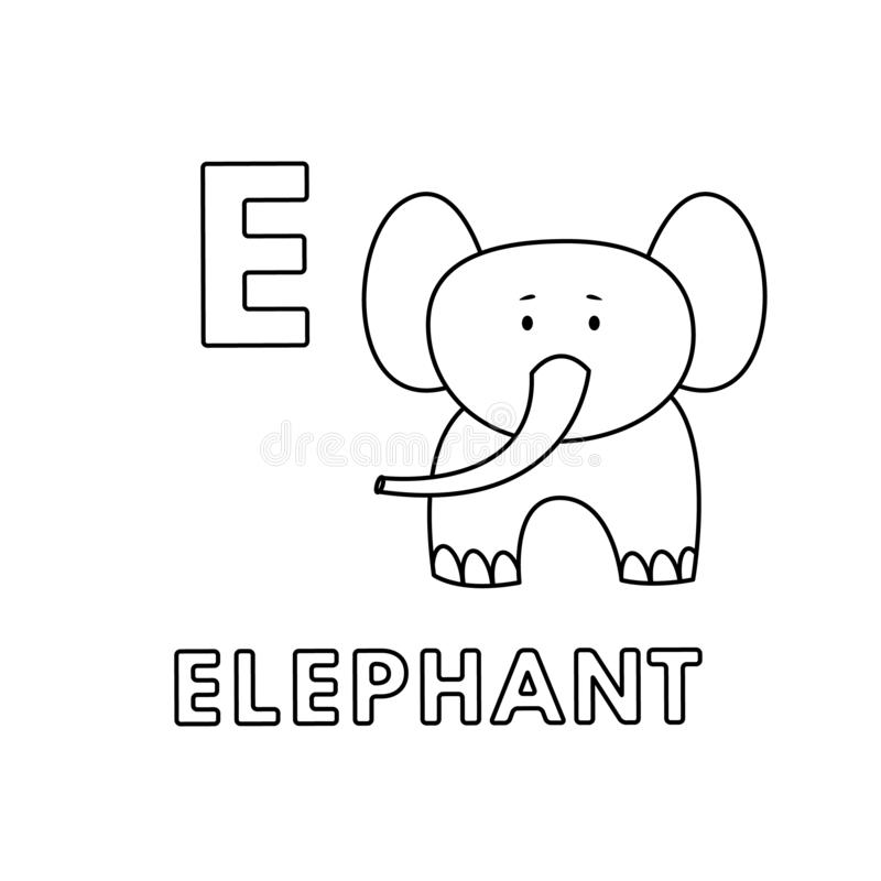 Vector Cute Cartoon Animals Alphabet. Elephant Coloring Pages stock illustration