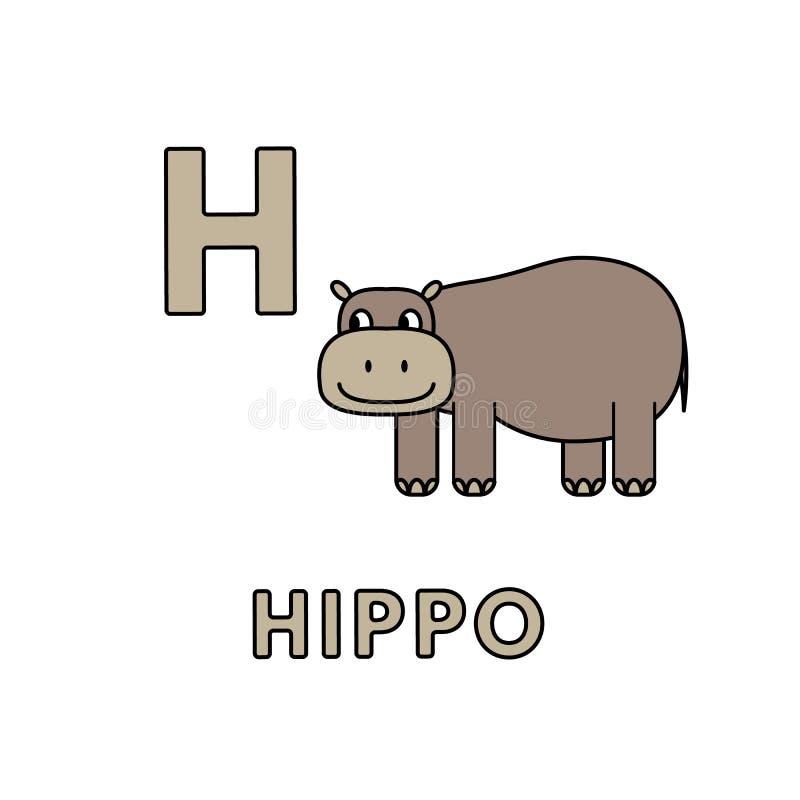 Vector Cute Cartoon Animals Alphabet. Hippo Illustration royalty free illustration