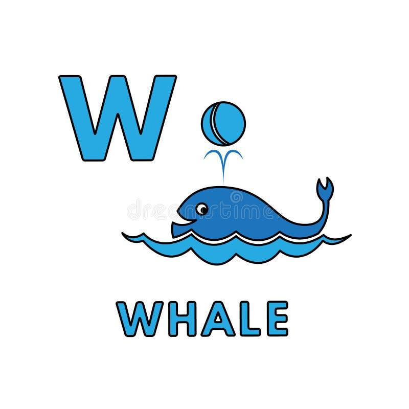Vector Cute Cartoon Animals Alphabet. Whale Illustration stock illustration