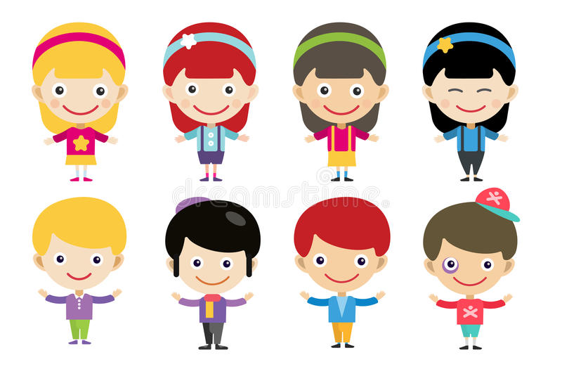 Vector cute cartoon boys and girls together stock illustration