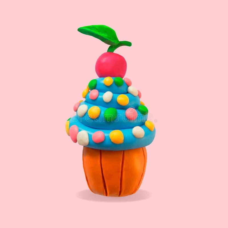 Vector cute cartoon cupcake illustration stock illustration