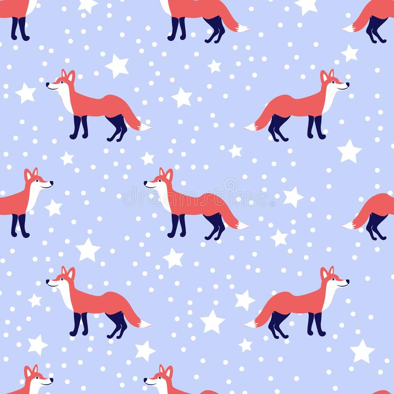 Vector cute cartoon fox seamless pattern, wild animals isolated on snow blue background, Foxy endless backdrop, colorful stock illustration