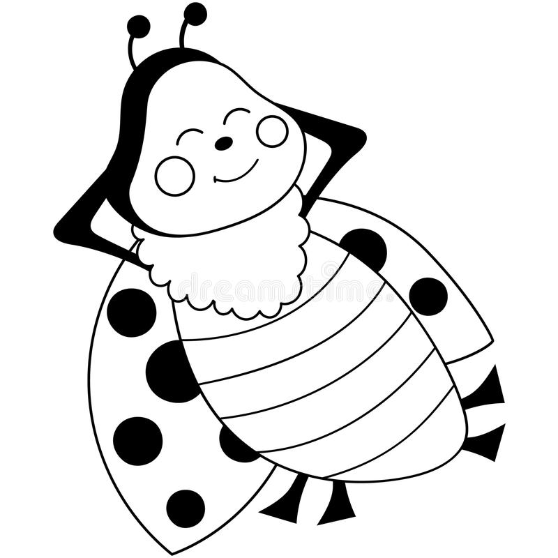 Cute Ladybug Clipart Black And White