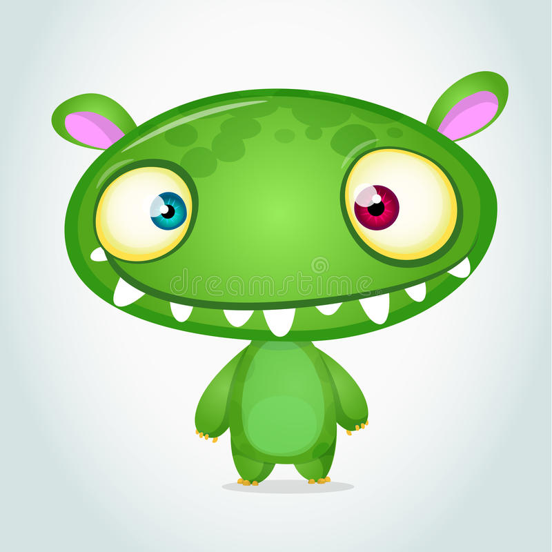 Vector cute cartoon monster alien. Halloween monster character royalty free illustration