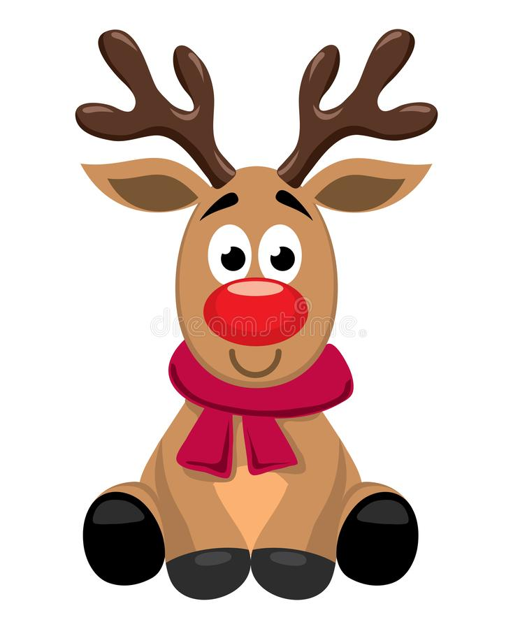 Free Vector Cute Cartoon Of Red Nosed Reindeer Toy, Rudolph Royalty Free Stock Photography - 131916767
