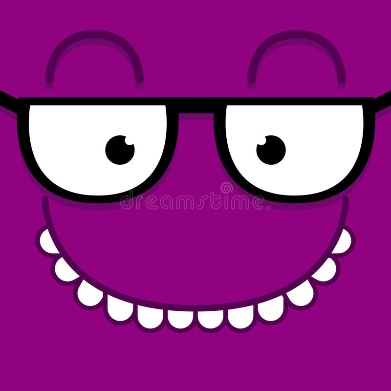 A Vector Cute Cartoon Purple Face With Glasses. Vector Cute Cartoon Purple Face With Glasses vector illustration