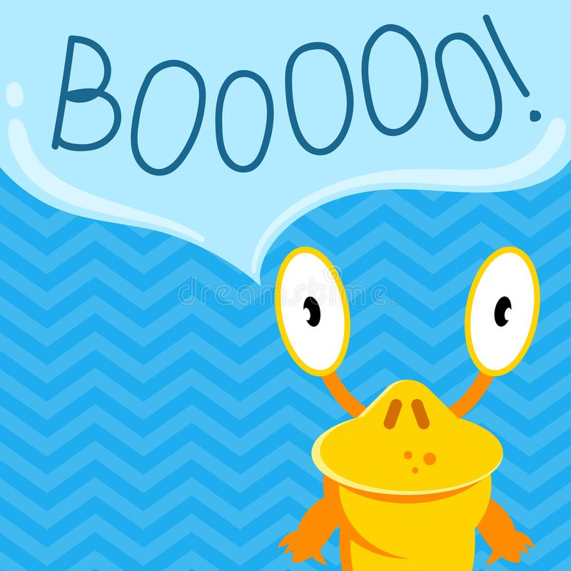 Vector cute cartoon screaming monster with speech bubble on zig zag background stock illustration