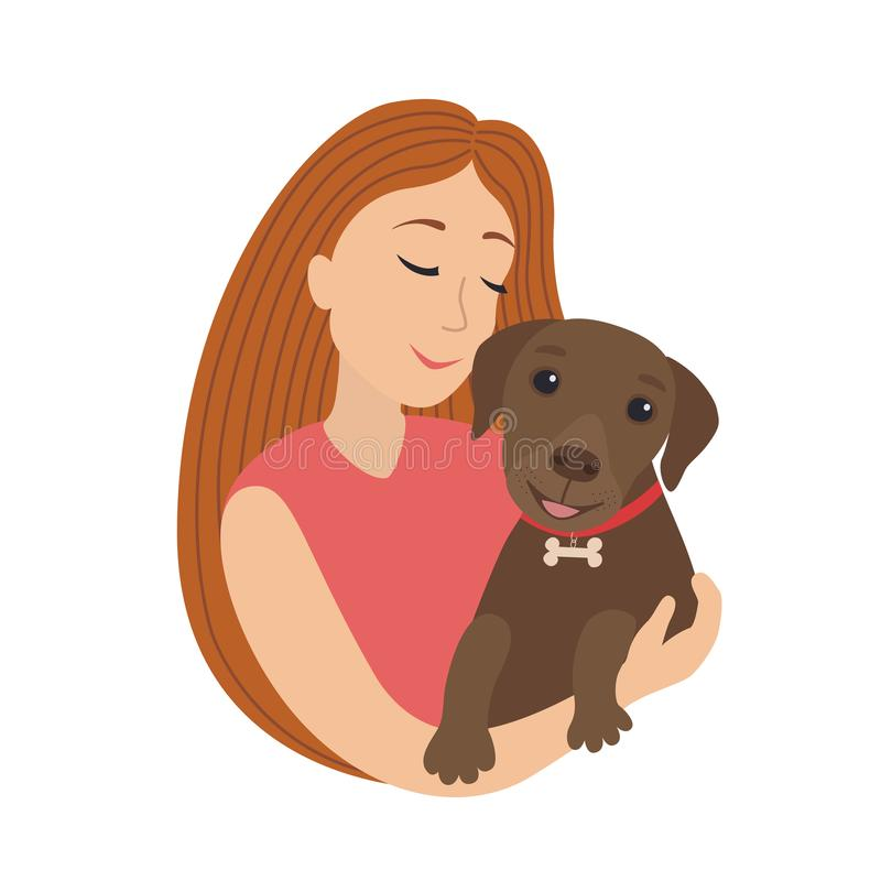 Vector cute cartoon smiling girl hug a puppy labrador, woman hold in embrace her dog lovely pet illustration royalty free illustration