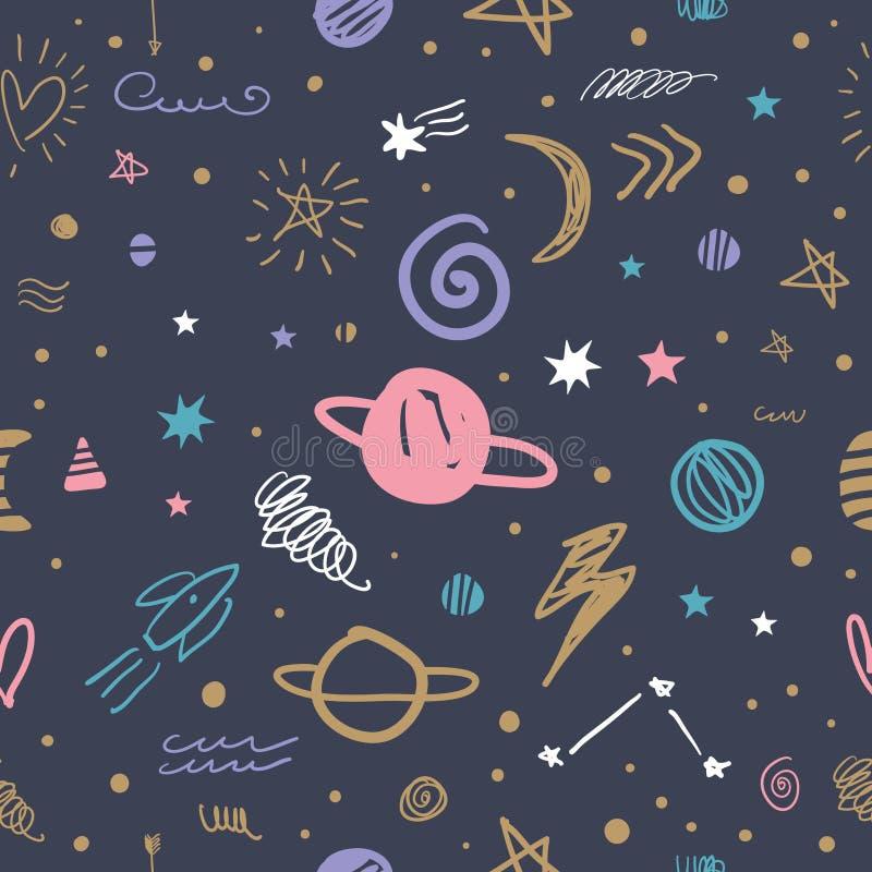 vector cute cartoon space galaxy pattern nursery wallpaper background vector cute cartoon space galaxy pattern illustrations 137494585
