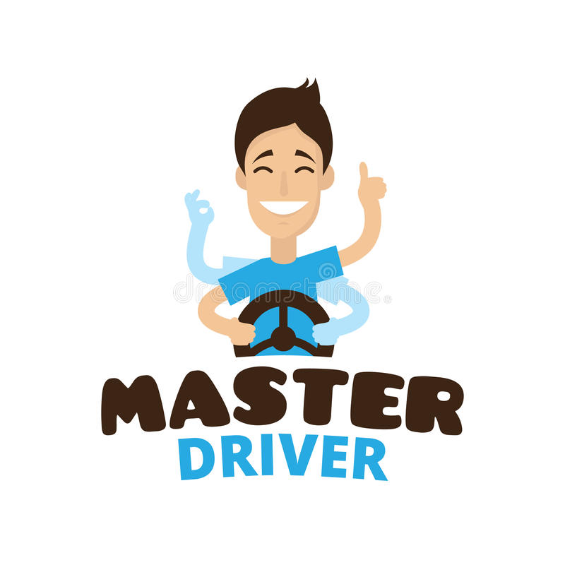 Vector cute cartoon style mascot driver school logo. Guru teen driving symbol. Vector cute cartoon style mascot driver school logo. Guru teen driver logo royalty free illustration